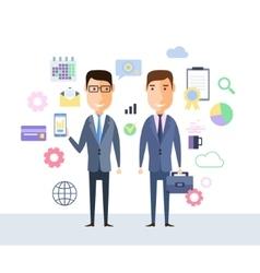 Successful partnership business people vector