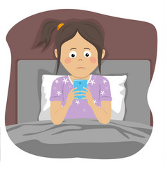 Teenager girl uses smartphone in bed at night vector