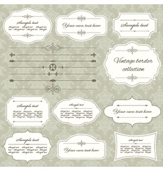 Vintage frame and divider set on damask vector