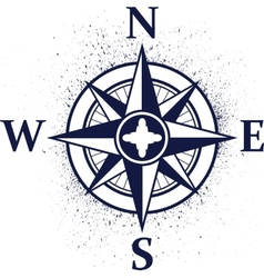 Wind rose with ink blots vector