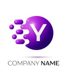 Y letter splash logo purple dots circle bubble vector