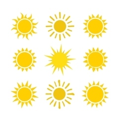 Yellow sun set icons isolated on white background vector image vector image