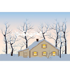 Hut in winter forest vector