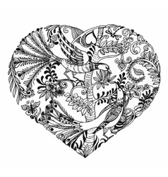 Heart shaped sketch of birds on twig vector
