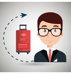 Receptionist hotel suitcase employee vector