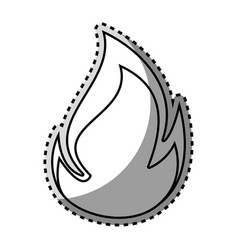 Monochrome contour sticker with flame close up vector