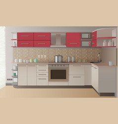 realistic kitchen interior vector image