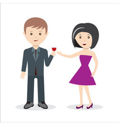 Couple or collegues celebrating holiday with glass vector
