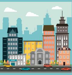 Buildings home market skyscraper street automovile vector