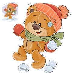 a brown teddy bear throws a vector image
