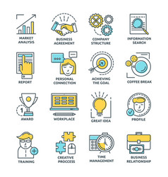 coworking colored linear icons vector image