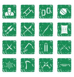 Ninja tools icons set grunge vector