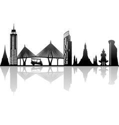 Bangkok thailand kingdom landmark silhouette vector