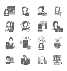 Woman shopping icon black vector
