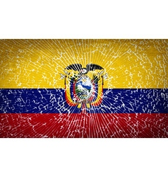 Flags ecuador with broken glass texture vector