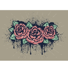 Grunge roses with splatters3 vector