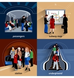 Subway 4 flat icons square composition vector