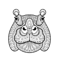 Hand drawn tribal hippopotamus head animal totem vector