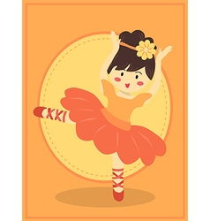 Cute orange ballerina girl vector