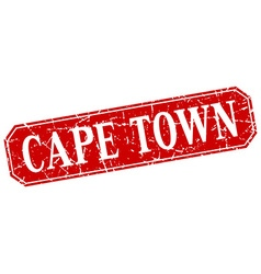 Cape town red square grunge retro style sign vector