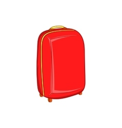 Red travel suitcase icon cartoon style vector