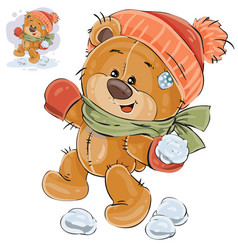 a brown teddy bear throws a vector image vector image