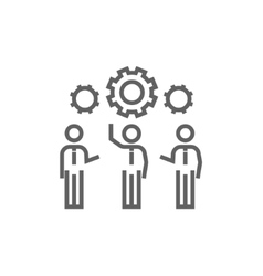 Businessmen under the gears line icon vector image vector image