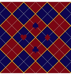 Card suits red royal blue diamond background vector