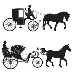 Carriage with horse hansom-cab set vector