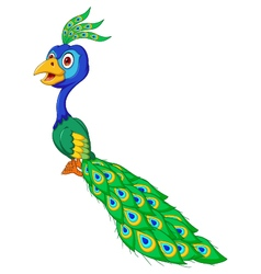 cute Peacock cartoon vector image