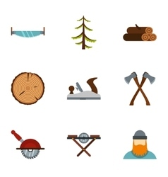 Cutting down trees icons set flat style vector