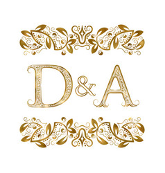 D and a vintage initials logo symbol the letters vector