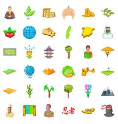 Earth icons set cartoon style vector