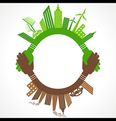 Ecology Concept - eco and polluted cityscape vector image vector image