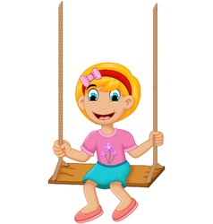 funny Little girl plying swing vector image vector image