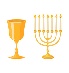 golden jew menorah with candles hebrew religion vector image vector image