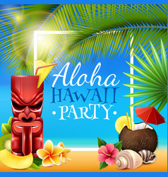Hawaiian party frame vector