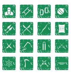 Ninja tools icons set grunge vector