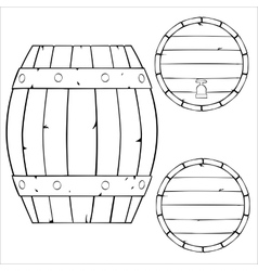 outline of wooden barrel vector image vector image