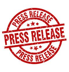 Press release round red grunge stamp vector