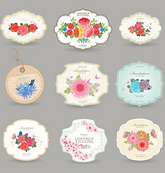 Romantic collection retro label with graceful vector