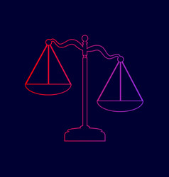Scales of justice sign line icon with vector