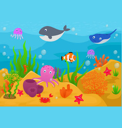 Sea life animal cartoon vector