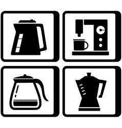 set icons with kettle and percolator vector image