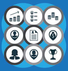 Set of 9 management icons includes business woman vector