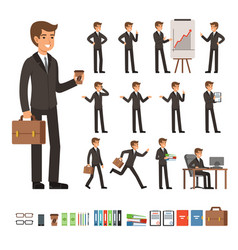 Set of businessman in different action vector