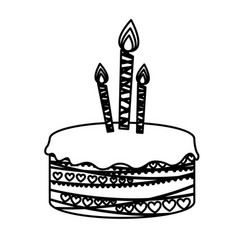 Silhouette picture birthday cake with candles vector