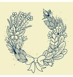 Sketch of floral wreath vector