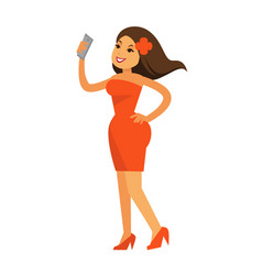 smiling woman with smartphone vector image
