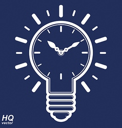 Timer and a electricity light bulb sign brain vector